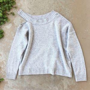 Vince Gray Shoulder Cutout Wool Cashmere Sweater